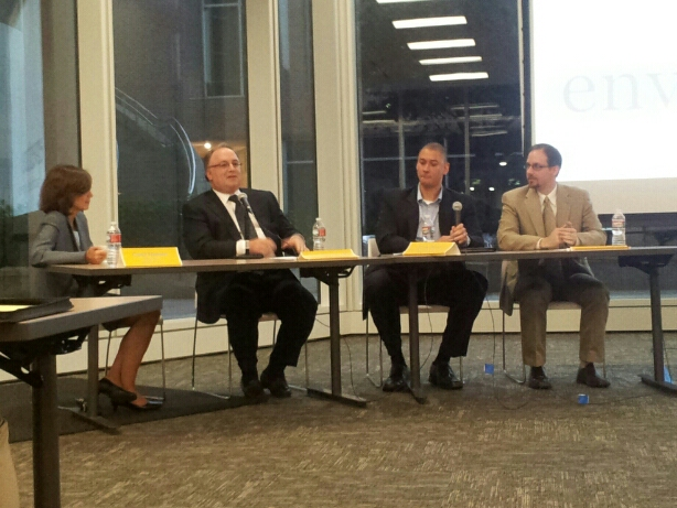 Enventure hosted a panel on Licensing Your Technology at the Rice University Biomedical Research Center. From left to right: Carol Nielson, Kevin Slawin, Ernie Davis, and Brian Phillips.