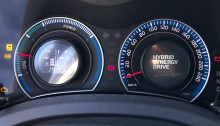 A closeup view of the efficiency gauge on a Toyota Hybrid.