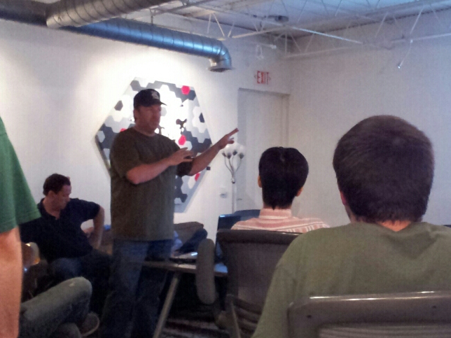 Robert introduces the guys from Qualcomm at the Houston Unity Group's meetup last night at Start Houston.