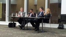 Panelists answer questions at Enventure's talk on Venture Deals, Mergers and Acquisitions.